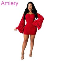 Fashion One Shoulder Pleated Skirt Women Solid Color Large Trumpet Sleeve Dress Sexy Nightclub Clothing Wear