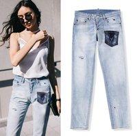 2021 Kadınlar Bahar Ve Yaz Moda Kot / En Kaliteli Marka Tasarım Yırtık Kot / Slim Fit Casual Denim Boyutu 26-30