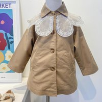 Coat 2021 Autumn Kids Clothes Girls Jackets Coats Children Lace Collar Single-breasted Trench Toddler Baby Tops Outwear 18M-7Y