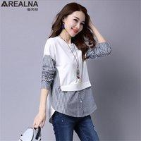 AREALNA Herbst Korean Shirt Frauen Tops Langarm Lässige Hemden Vintage Streifen Nähte Gefälschte Zweisteine Frauen Blusen Blusas 201201