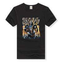 T-shirt a maniche corte T-shirt rotonda personalità pesante metallo musicale rock bacio band blu faccia uomo e amanti delle donne
