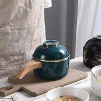Koreanischer Stil Bento-Nudelschale mit Deckel Holzgriff Dual-Spezielle Geschirr Easy Cleaning Einzelne Geschirr