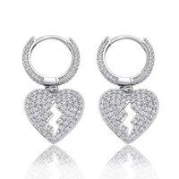 Stud 1 Pair Hip Hop CZ Stone Paved Bling Out Broken Heart Earrings For Men Women Unisex Fashion Jewelry Drop