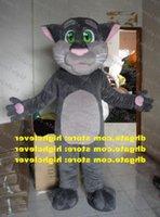Enjoyable Gray TOM Cat Kitten Mascot Costume Cartoon Character Mascotte Adult Pink Nose Palms Wronged Expression ZZ742 Free Ship