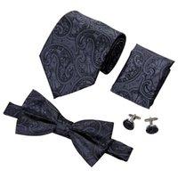 Hi-Tie Classic Mens Tie Black Floral Silk Woven Bowtie With Handkerchief Cufflinks For Mens Wedding Dress Fashion Suit