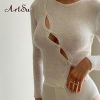 Artsu 세련된 패션 긴 소매 여성의 상단 컷 아웃 2021 가을 둥근 목 버튼 섹시 슬림 탑스 의류 Streetwear 210310