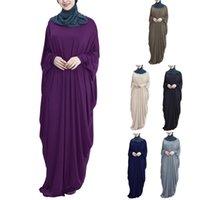 캐주얼 드레스 여성 이슬람 Batwing 긴 소매 맥시 드레스 터키 두바이 느슨한 Abaya Kaftan 솔리드 컬러 중동 이슬람 가운