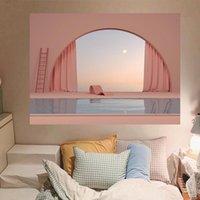 Tapestries Tapestry Landscape Girl Hooks Custom Boho Dorm Curtain Funny Pink Tapisserie Mural Family Artwork