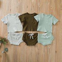 Kleidung Sets Kleinkind Baby Jungen Mädchen Sommer gerippt Gestrickte Kleidung Born Infant Solid T-Shift Tops + Shorts Outfit Trainingsanzüge