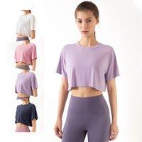 Cross-Border Lulu Sports T-shirt Womens Overall Loose Short Quick-Drying Yoga Jacket Fitness Short Sleeve Female Running Suit Summer