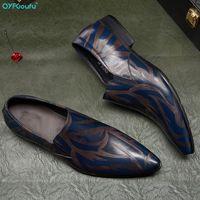 Dress Shoes QYFCIOUFU Blue Mens Leather Genuine Oxford For Men Luxury Slip On Wedding Brogues