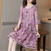 Casual Dresses Spring Summer Women Dress O-Neck Short Sleeve Floral Embroidery Vintage Fashion Female Designer Daily Clothes M279