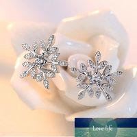 925 الفضة الاسترليني جديد أزياء كريستال الزركون عيد الميلاد ندفة الثلج أقراط غرامة مجوهرات للنساء هدايا S-E212