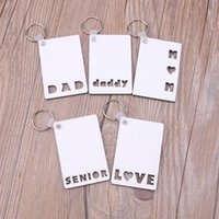 Sublimation Blank Keychain Pendant Christmas MDF Double Sided Printing Heat Transfer Luggage Decoration Keyring Key DIY Birthday Gift For Dad Mom Love Mother's Day