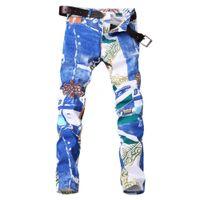 Новые патчи мужчин джинсы джинсы тощие буквы ROCK RUSSIVAL прямые моды Mulit-цветные джинсовые брюки байкер повседневная классические мужские дизайнерские джинсы