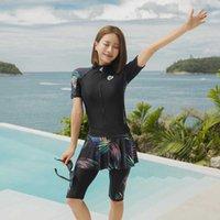 Women's One-piece Jumpsuit Swimsuit Rash Guard Short Long Sleeve Leg Swimwear with Skirt UV Sun Protection Dive Skin Front Zip