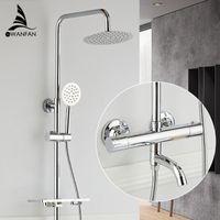 Смесители для душа латунные хромированные термостатические стены ванной ванна Faucet дождевой душевой головкой портативный квадратный смеситель кран наборы 877838L