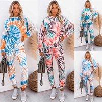 Women Designer 2pcs Sets Spring Autumn Crew Neck Tie Dye Tops Long Pants Clothing Suits Two Piece Pants