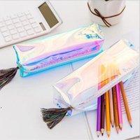 حقيبة القلم الكورية القرطاسية جديدة أعلى بيع المنتج متعدد الألوان عالية السعة 20 * 7 * 5 سنتيمتر كول تصميم الليزر مربع DWF9084