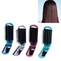 Saç Fırçalar Kadın Kızlar Cep Boyutu Katlanır Fırça Ayna Kompakt Seyahat Araba Çanta Çanta Hediye