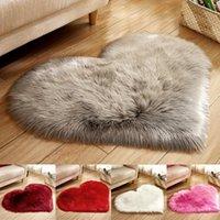 Carpets 70x90cm Artificial Wool Sheepskin Hairy Carpet Faux Fur Floor Mat Plush Love Heart Rugs Small Cute Plain Fluffy Soft Area Rug