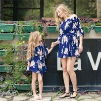 Summer Mother Daughter Family Matching Outfits One Shoulder Printed Ruffle Dress Party Wedding Mommy and Me Clothes