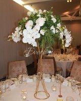 파티 장식 우아한 웨딩 꽃 꽃병 테이블 중심 화병 높이 스탠드 골드 철 인공 배열