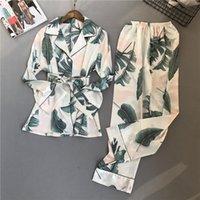 VOLLIDIA Женские пижамы набор новых весенних осенних стежка пижамы шелковые чувства пижамы женские пижамы пижамы домашняя одежда Pijama Feminino 210305