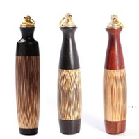 Bouteille de tabac à grande capacité de soie en soie doré avec cuillère d'artisanat en bois Snuff Bullet Sculptures en bois Style chinois Great Cadeaux BWF5381
