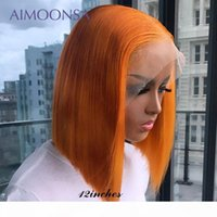 Bob Perruques courtes Ginger Orange 13 * 6 Dentelle Perruque avant Perruque de couleur Dentelle de couleur Perruques de cheveux humains pour femmes Remy Pixie Cut 150 Densité