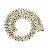 18mm Hip Hop Chains Rock Claw Set CZ Stone Bling Ice Out Solid Strip Cuban Miami Link Chain Necklace for Men Rapper Jewelry