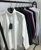 2021 Mens Designer Moda Casual Camisa Hombres Slim Fit Rayas Para Mujer Pequeño Caballo Hombre Sólido Color Sólido 21ss Vestido de negocios Tee