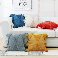Adorehouse mão-bordado tufo pillowcase americano cor sólida marroquina geométrica borla almofada almofada capa travesseiro