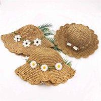 قبعات القبعات الأزياء الزهور الطفل قبعة الصيف فتاة القش الشمس كاب الشاطئ شاطئ الأطفال قناع الأميرة للأطفال 1466 B3