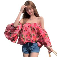 Women's Blouses & Shirts Summer Off Shoulder Sexy Top Womens Sweet Print Seaside Holiday Shirt Tops