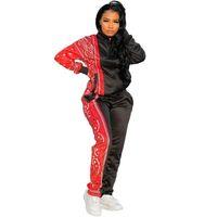 Fixsys Paisley Bandana Baskı Patchwork Kadınlar İki Parçalı Set Eşofman Cepler Uzun Kollu Fermuar Ceket Kalem Pantolon Jogging Suits