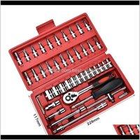 46Pcs 1 4-Inch Socket Set Car Repair Tool Ratchet Set Torque Wrench Combination Bit A Of Keys Chrome Vanadium Combination Zsu3H Rlqim