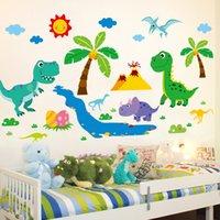 [Shijuehezi] Dibujos animados Dinosaurios Animales Etiquetas de Pared DIY Coconut Árbol Mural Calcomanías para Kids Room Dormitorio de bebé Decoración del hogar 210308