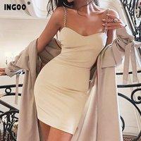 Ingoo Yaz Seksi Ince Elbise Parti Gece Kadın Zincir Askısı Şık V Boyun Beyaz Elegance Bodycon Backless Kadın Elbiseler Vestidos 210224