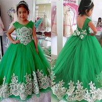 Girl's Dresses 2021 Emerald Green Flower Girl For Wedding Big Bow Ivory Flowers Lace Cap Sleeve First Holy Communion Graduation Birthda