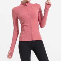 Lulu Yoga coat stand collar zipper cardigan sports running fitness jacket autumn and winter new long sleeve top