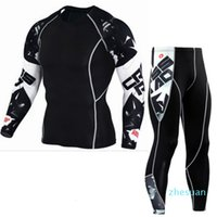Fitness clothes Mens Sports Running Set Compression T-Shirt + Pants Long Sleeves Rashguard Training Clothes Yoga Suits Plus Size 3XL