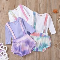 kids Clothing Sets girls boys outfits infant toddler Tie dye Pit stripe romper Tops+Overalls Suspender shorts 2pcs set summer fashion Boutique baby Clothes