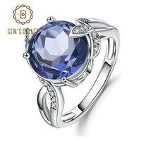 Cluster Rings Gem's Ballet 4.79Ct Natural Iolite Blue Mystic Quartz Gemstone Solid 925 Sterling Silver Fine Jewelry For Women Wedding
