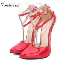 샌들 Voesnees 2021 여성 신발 패션 할로우 더블 팔찌 하이힐 숙녀 미세 힐 16cm 나이트 클럽 극 춤