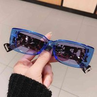 Occhiali da sole blu Arancione Candy Color Telaio Squae per le donne Vintage Brand Leopard Stampa Gamba Occhiali da sole UV400 Uomini Hip Hop Shades