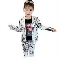 Костюм для девочек детская одежда печать пиджаки AMP брюки одежда мода осень официальный набор 6 8 12 14