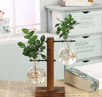 Terrariumhydroponische Pflanze Vasen Vintage Blumentopf Transparente Vase Holzrahmen Glas Tischplatte Pflanzen Home Bonsai Dekor