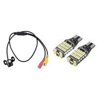 Auto View View Telecamere Sensori di parcheggio 1 Impostare il monitor di backup della fotocamera frontale HD CCD Assist 2 PCS T15 W16W Lampadina a LED ER