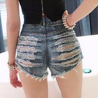 Женские шорты с высокой талией уборные отверстия джинсовые женские ночные клубы носить женские модные уличные зарубежные кисточки разорвал бафи короткие джинсы